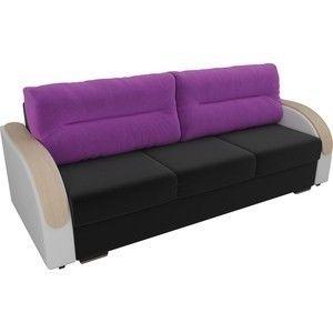 Диван ЛигаДиванов Дарси микровельвет черный, подлоктники экокожа белые, подушки микровельвет фиолетовые - фото 2