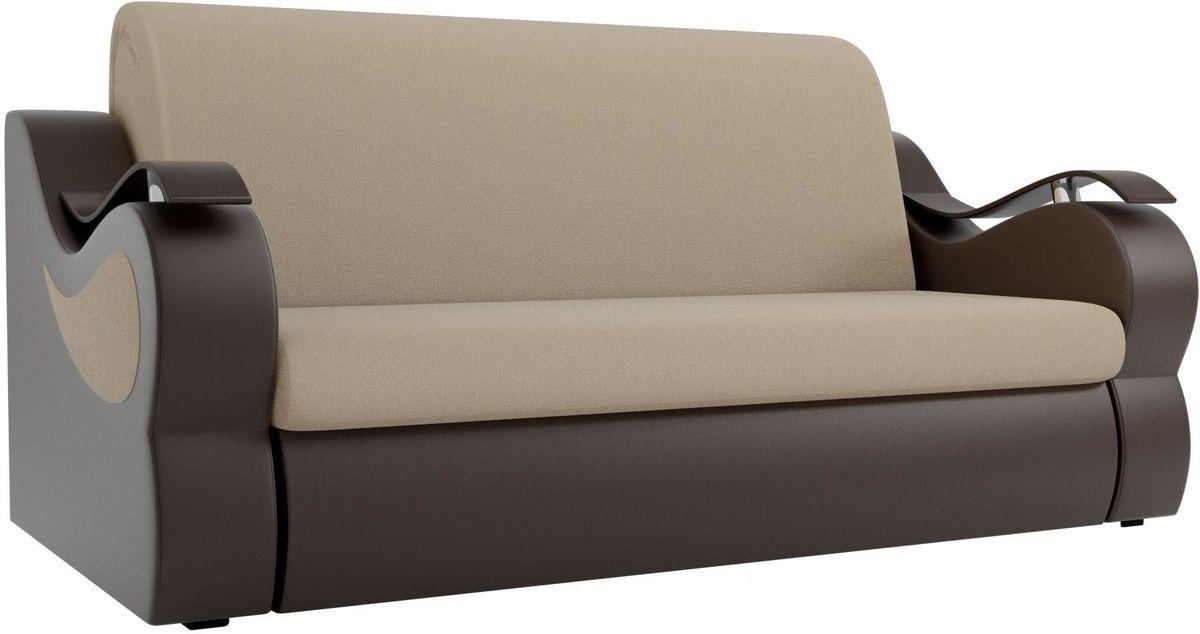 Диван Mebelico Меркурий 222 140, рогожка бежевый/экокожа коричневый - фото 3