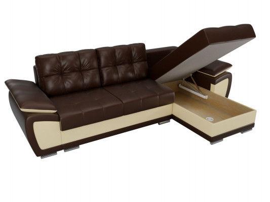 Диван ЛигаДиванов Нэстор угловой правый 100430 экокожа коричневый/бежевый - фото 7