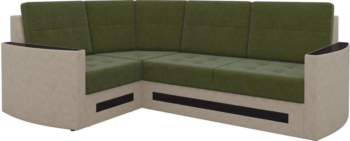Диван Mebelico Белла У 476 левый вельвет зеленый/бежевый - фото 1
