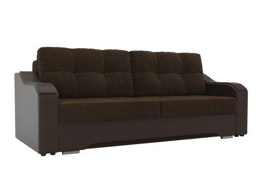 Диван ЛигаДиванов Браун 102163 велюр коричневый/экокожа коричневый - фото 1