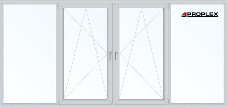 Балконная рама Proplex 2950*1450 1К-СП, 3К-П, Г+П/О+П/О+Г - фото 1