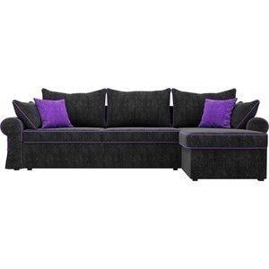 Диван ЛигаДиванов Элис 123 угловой правый 60655 велюр черный, фиолетовые подушки - фото 3