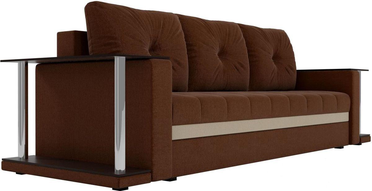 Диван Mebelico Атланта М 2 стола рогожка коричневый - фото 5