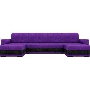 Диван ЛигаДиванов Честер п-образный велюр фиолетовый вставка черная - фото 3