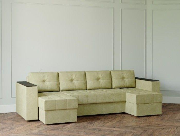 Диван Настоящая мебель Ванкувер Лайт с декором (модель: 7777) зеленый - фото 1
