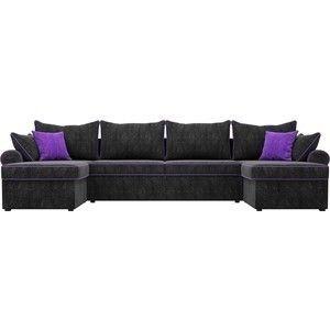 Диван ЛигаДиванов Элис П 124 60666 велюр черный фиолетовые подушки - фото 4