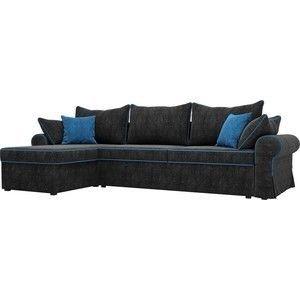 Диван ЛигаДиванов Элис 123 угловой левый 60654 велюр черный, голубые подушки - фото 1
