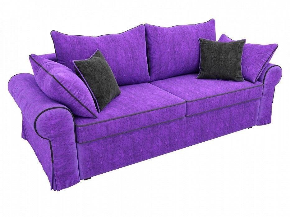 Диван Mebelico Элис прямой Велюр фиолетовый\черный - фото 2