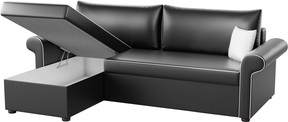 Диван Mebelico Милфорд 91 левый 59564 экокожа черный - фото 3
