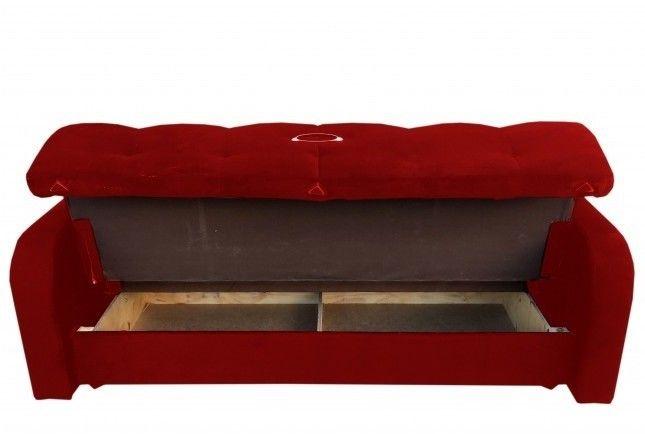 Диван Луховицкая мебельная фабрика Марсель (велюр красный) 140x190 - фото 3