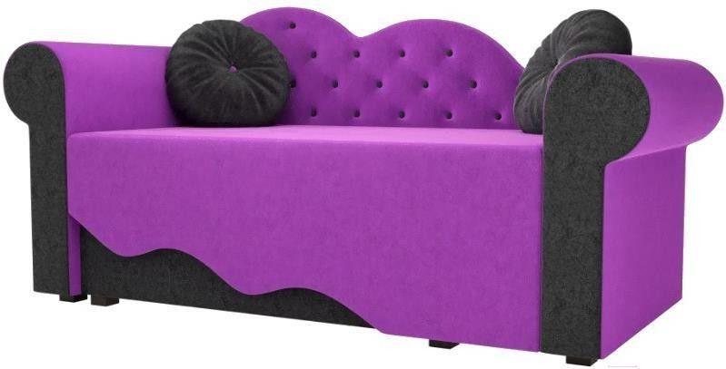 Диван Mebelico Тедди-2 107 левый 60508 микровельвет фиолетовый/черный - фото 1