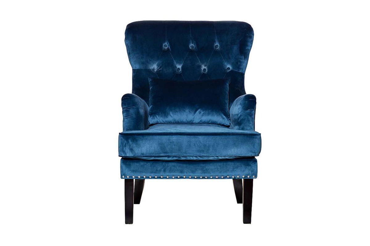 Кресло Garda Decor 24YJ-7004-06466/1 (велюровое синее с подушкой) - фото 1