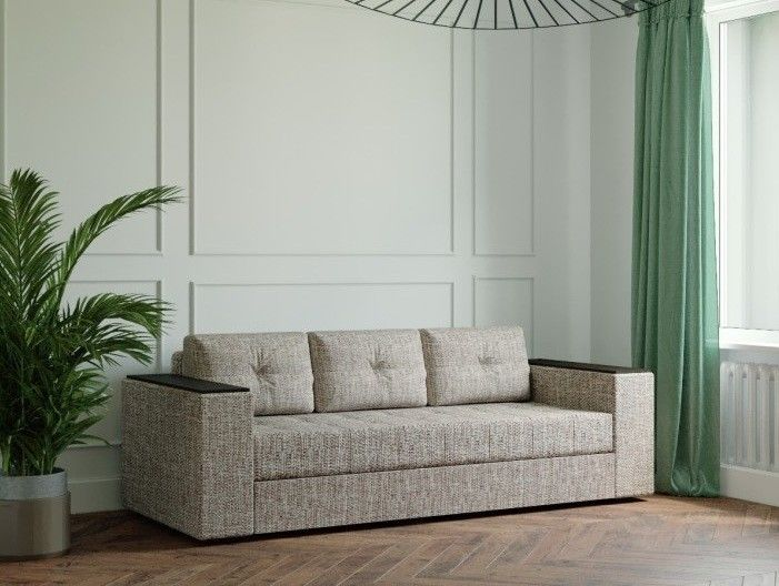 Диван Настоящая мебель Ванкувер Лайт с декором (модель: 00-000034502) бежево-коричневый - фото 1