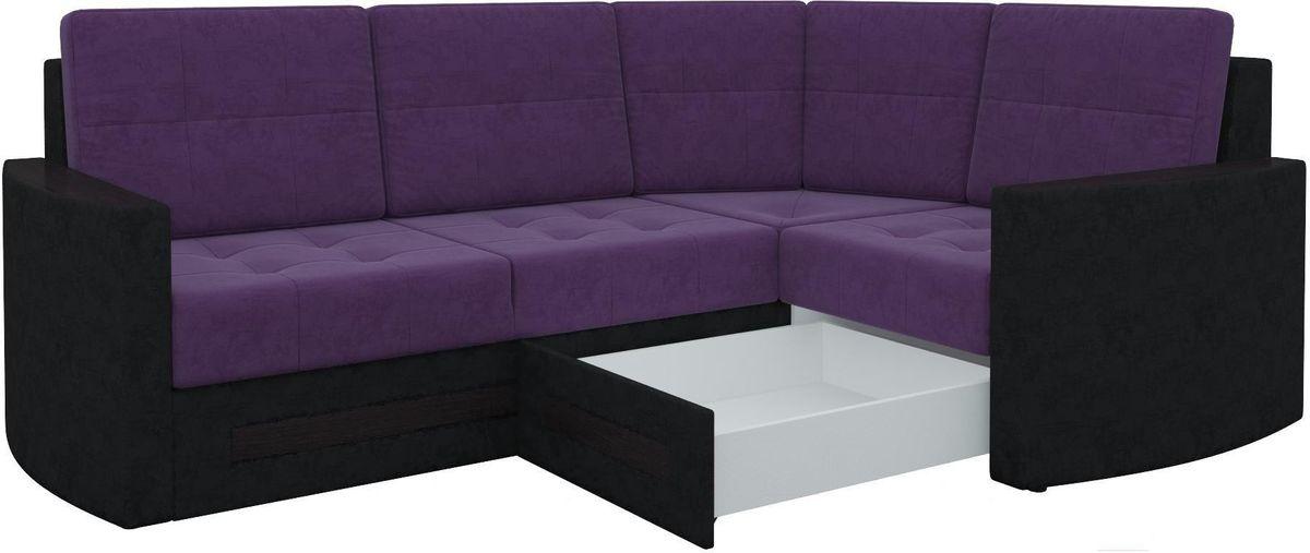 Диван Mebelico Белла У 476 правый вельвет черный/фиолетовый - фото 6