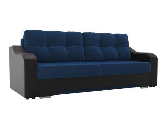 Диван ЛигаДиванов Браун 102165 велюр синий/экокожа черный - фото 1