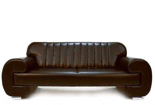 Диван Луховицкая мебельная фабрика Челси коричневый кожаный - фото 1