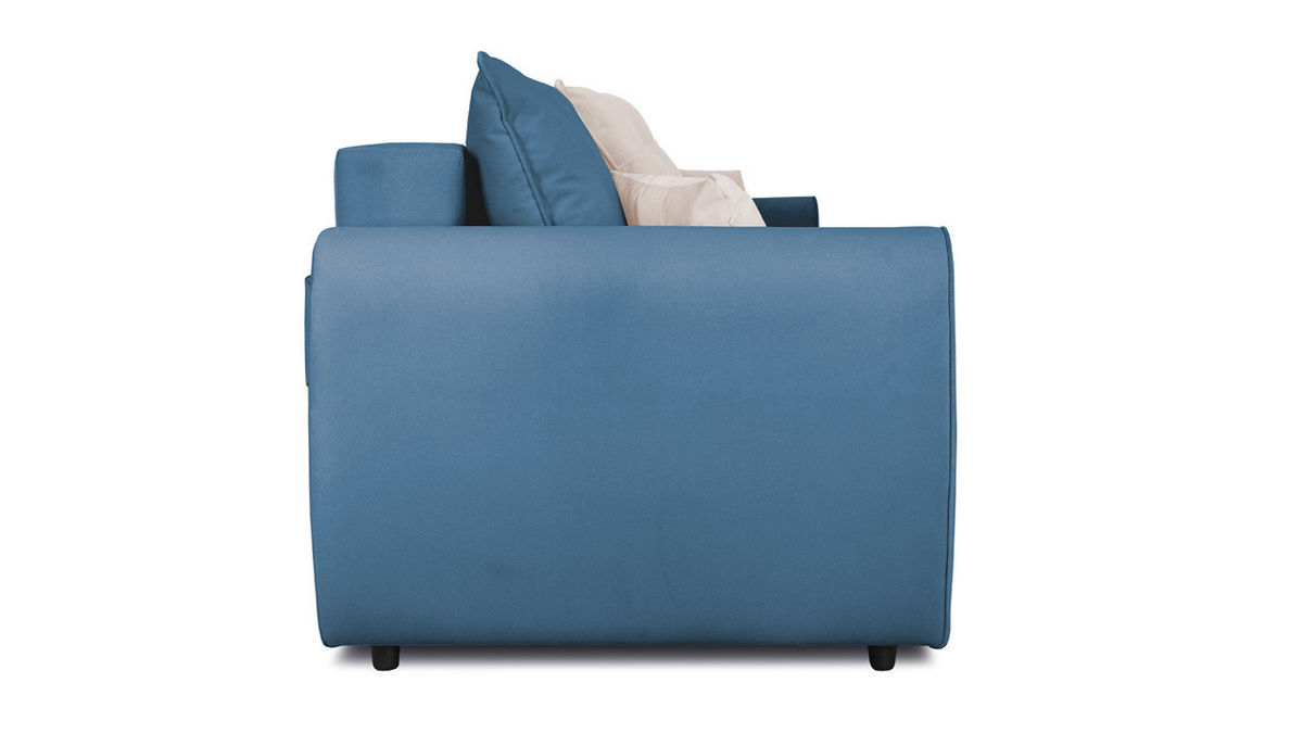 Диван ТриЯ «Бернард» (Beauty 07 (велюр), синий подушка Beauty 02 (велюр), капучино) - фото 4