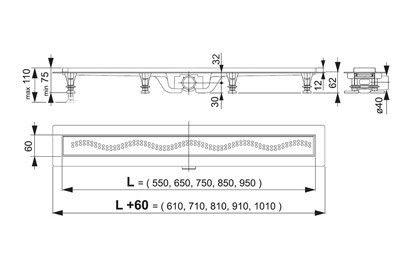 Водоотвод для ванной комнаты AlcaPlast Душевой трап APZ10-750M - фото 2