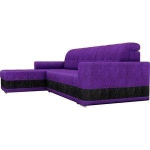 Диван ЛигаДиванов Честер левый велюр фиолетовый вставка черная - фото 4