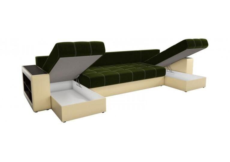 Диван Craftmebel Дубай П-образный зелёный вельвет/бежевая экокожа - фото 3