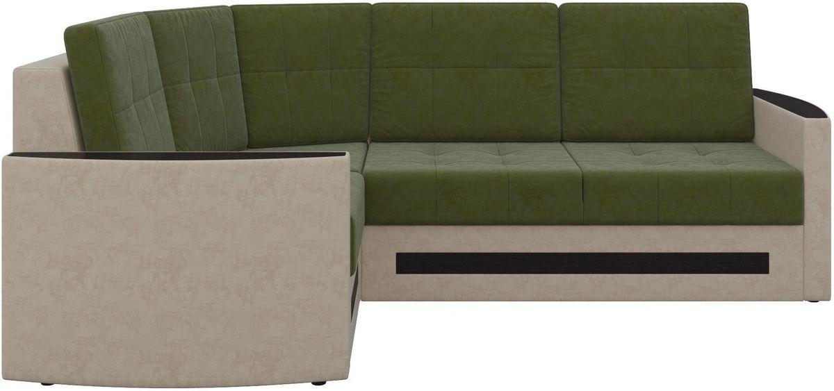 Диван Mebelico Белла У 476 левый вельвет зеленый/бежевый - фото 2