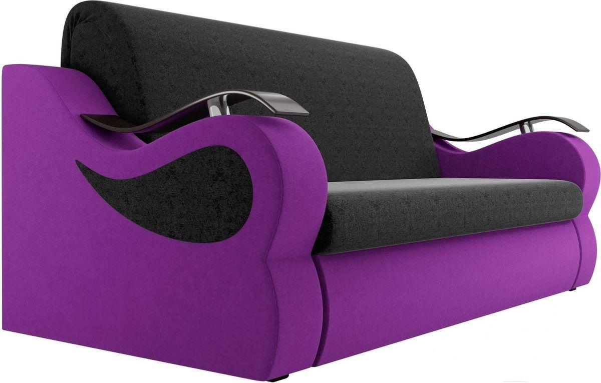 Диван Mebelico Меркурий 222 120,вельвет черный/фиолетовый - фото 4