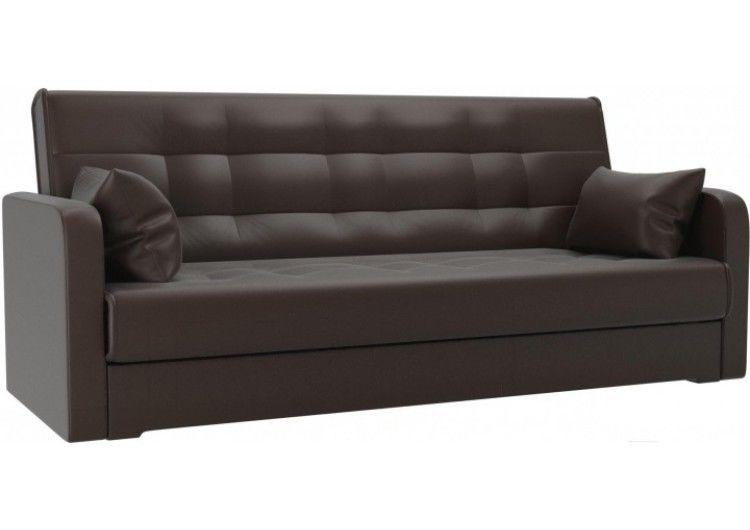 Диван Луховицкая мебельная фабрика Надежда (экокожа коричневая) пружинный 120x180 - фото 1