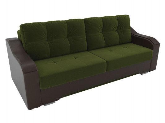 Диван ЛигаДиванов Браун 102171 микровельвет зеленый/экокожа коричневый - фото 2