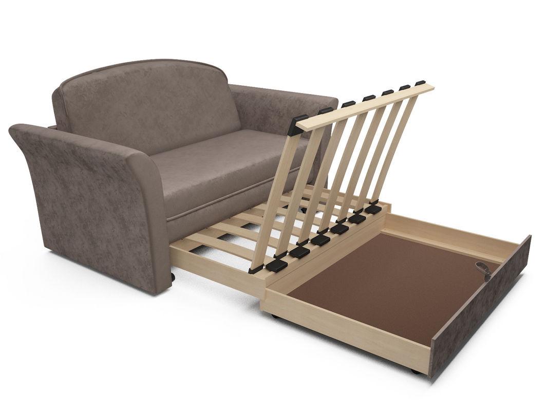 Диван Мебель-АРС Малютка №2 (бархат серо-шоколадный STAR VELVET 60 COFFEE) - фото 6