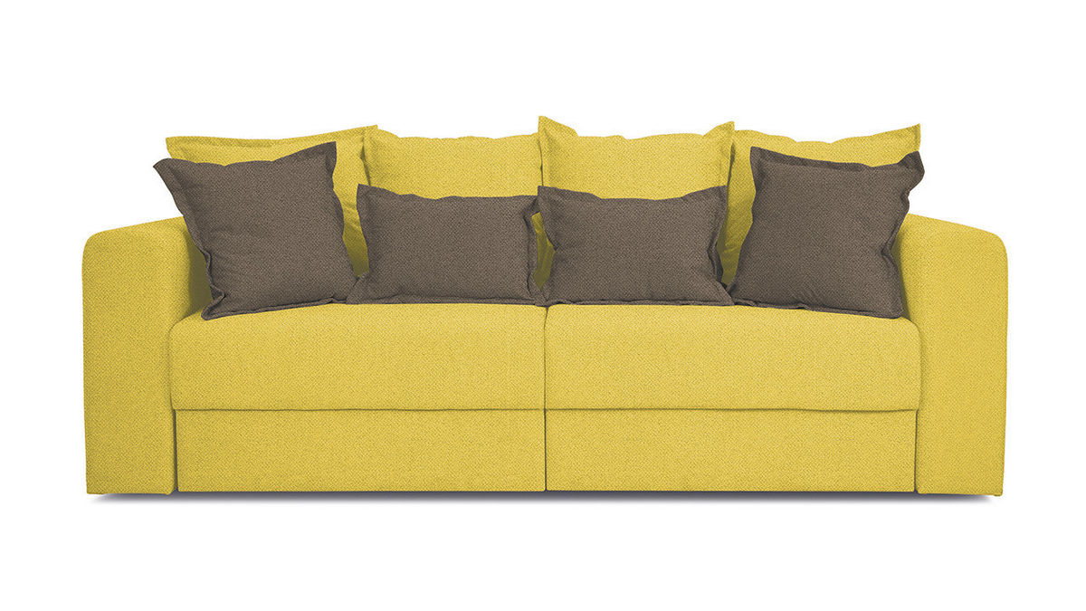 Диван ТриЯ «Раймонд» (Neo 08 (рогожка) желтый подушка Neo 04 (рогожка) светло-коричневый) - фото 2