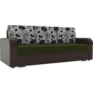 Диван ЛигаДиванов Мейсон микровельвет зеленый экокожа коричневый подушки рогожка на флоке - фото 1