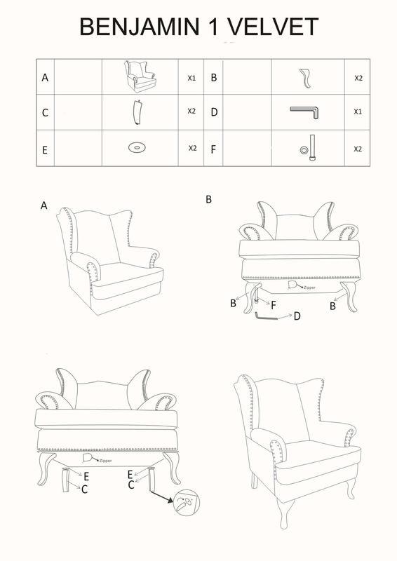 Кресло Signal BENJAMIN 1 VELVET TAP.167 (серый/венге) BENJAMIN1VSZW - фото 2