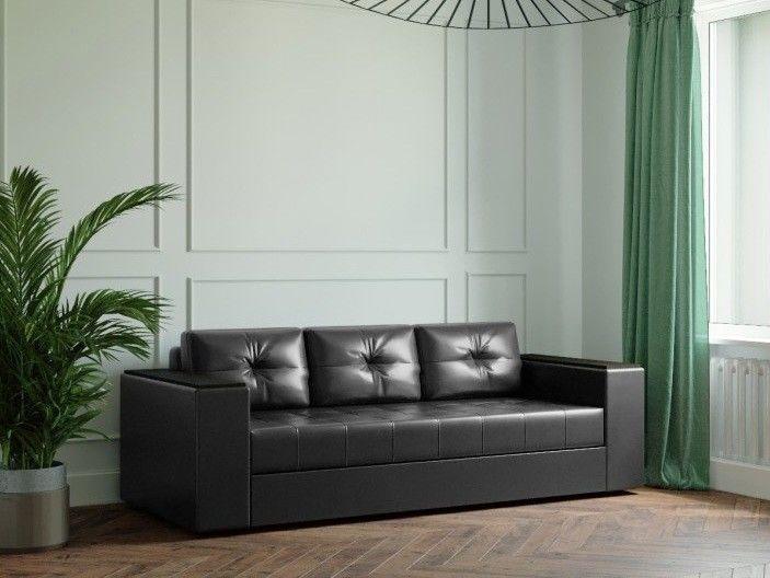 Диван Настоящая мебель Ванкувер Лайт с декором (модель: 00-000034505) чёрный - фото 1