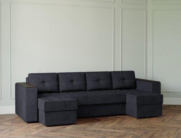 Диван Настоящая мебель Ванкувер Лайт с декором (модель: 8888) черный - фото 1