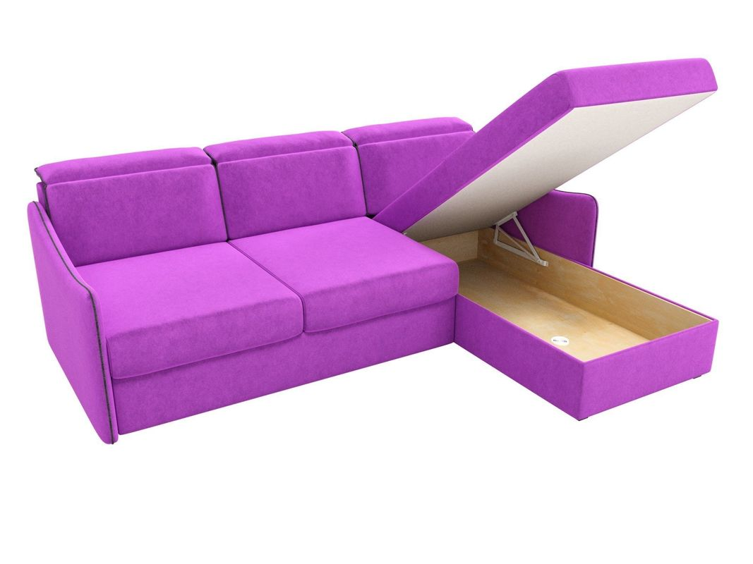 Диван ЛигаДиванов Скарлетт 125 угловой правый 60677 вельвет фиолетовый - фото 7