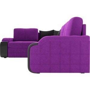 Диван ЛигаДиванов Николь левый угол микровельвет фиолетовый/черный - фото 5