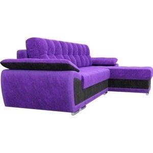 Диван ЛигаДиванов Нэстор угол правый велюр фиолетовый вставка черная - фото 4
