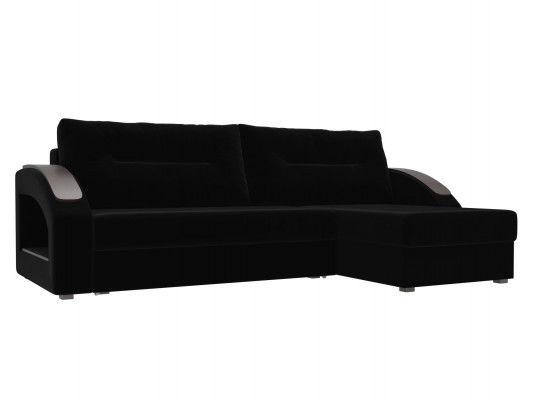Диван ЛигаДиванов Канзас угловой правый 101153 велюр черный - фото 1