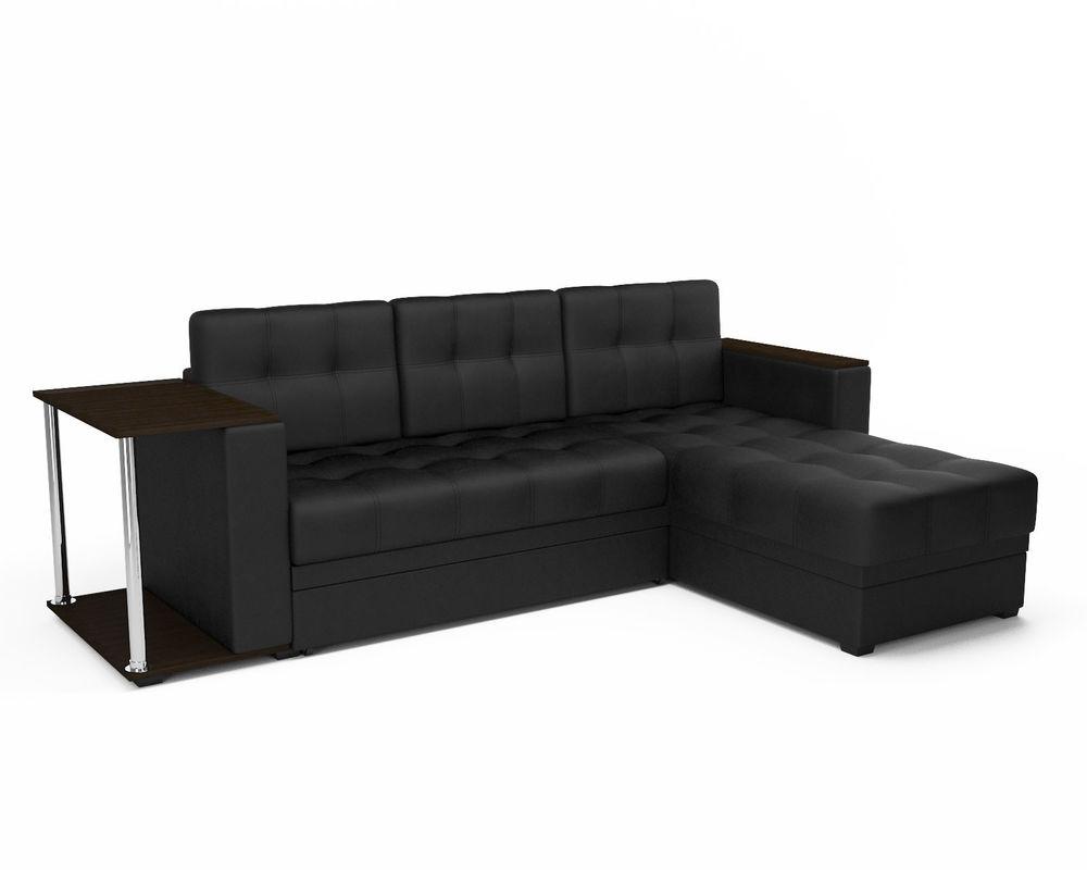 Диван Мебель-АРС Атланта (экокожа черная без полосы) - фото 1