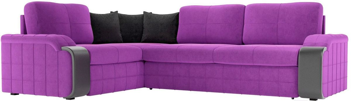 Диван ЛигаДиванов Николь 103 левый 60195 микровельвет фиолетовый/черный - фото 1