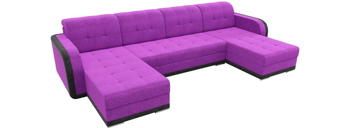 Диван Mebelico Марсель п-образный велюр фиолетовый/черный - фото 2