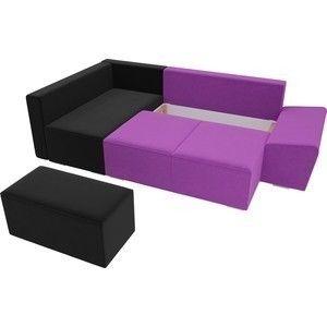 Диван ЛигаДиванов Хавьер левый угол микровельвет фиолетовый/черный - фото 4