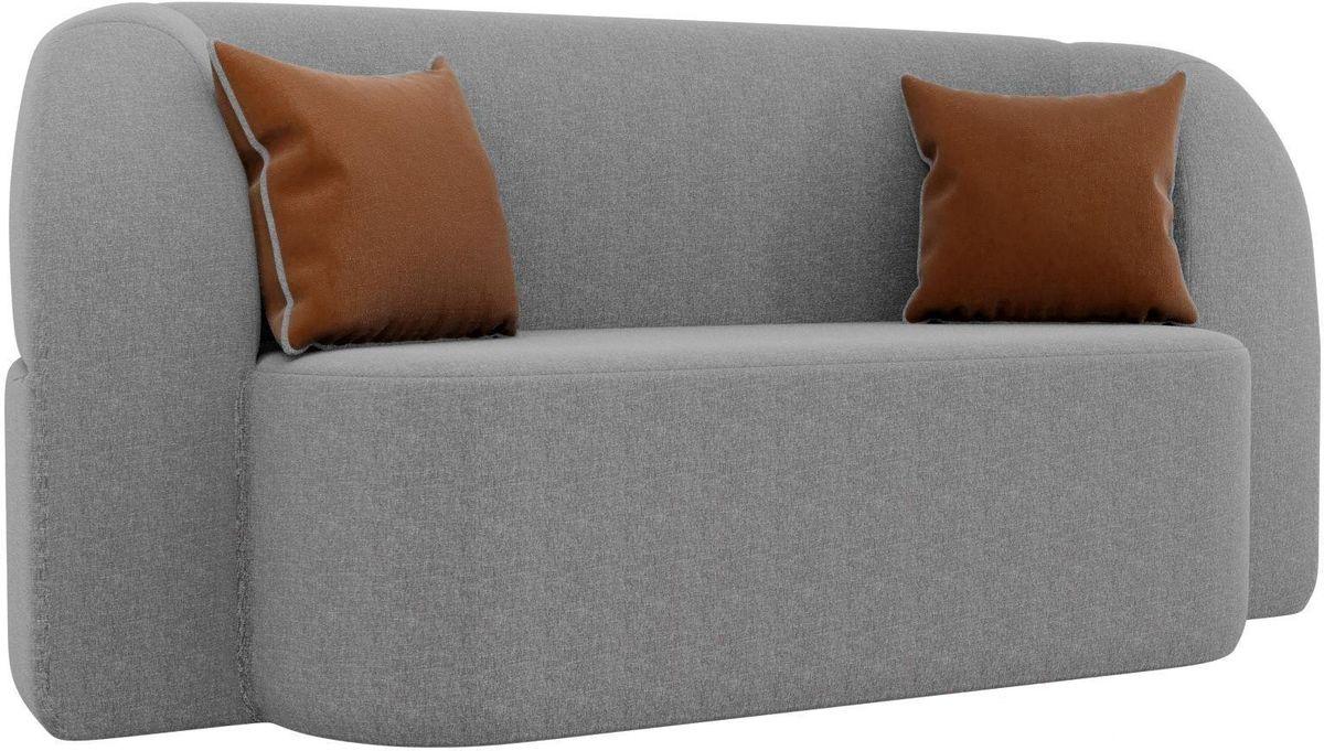 Диван Mebelico Томас 100399 рогожка серый/подушки коричневые - фото 1