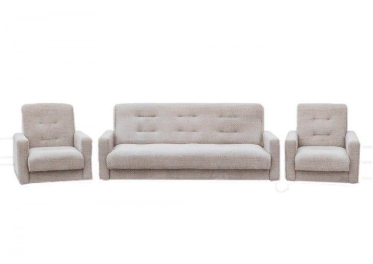 Набор мягкой мебели Луховицкая мебельная фабрика Лондон бежевая рогожка 140х190 (диван + 2 кресла) - фото 1
