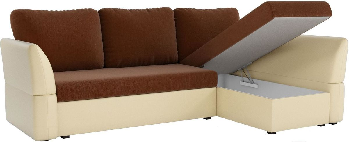 Диван Mebelico Гесен 100 правый 60064 рогожка коричневый/экокожа бежевый - фото 2