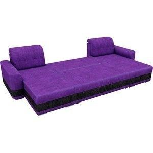 Диван ЛигаДиванов Честер п-образный велюр фиолетовый вставка черная - фото 4