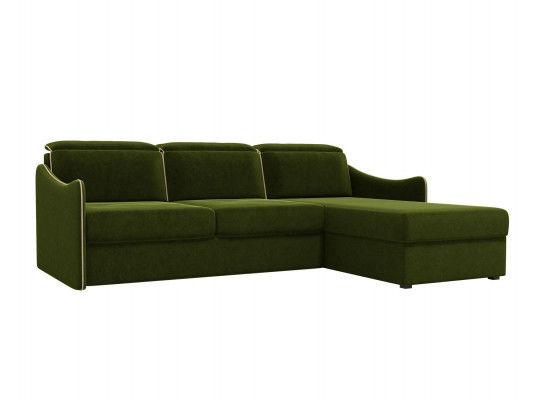 Диван ЛигаДиванов Скарлетт 125 угловой левый 60675 вельвет зеленый - фото 1