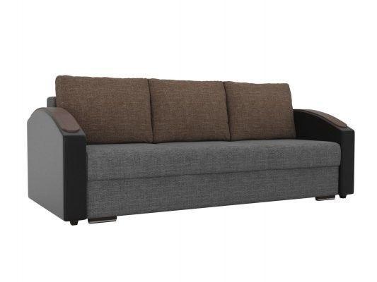 Диван ЛигаДиванов Монако Slide 102014 рогожка серый/экокожа черный/рогожка коричневый - фото 1