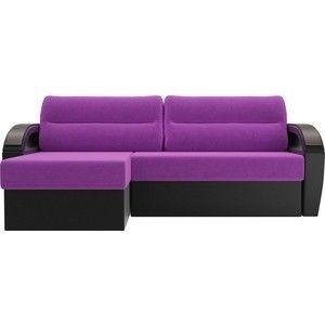 Диван ЛигаДиванов Форсайт левый микровельвет фиолетовый экокожа черный левый - фото 3